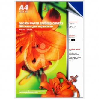 Обложки для переплета картонные, текстура: глянец, 250г/м2, А4, синий
