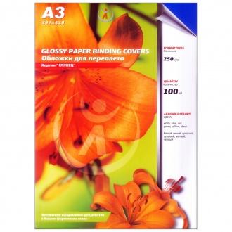 Обложки для переплета картонные, текстура: глянец, 250г/м2, А3, синий