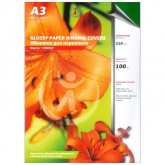Обложки для переплета картонные, текстура: глянец, 250г/м2, А3, зеленый
