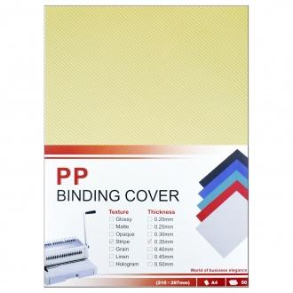 Обложки для переплета ПолиПропиленовые прозрачные рифленые, 0.35мм, А4, желтый