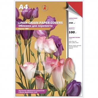 Обложки для переплета картонные, текстура: лен, 250г/м2, А4, красный