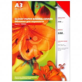 Обложки картон глянец А3, 250г/м2, красные упак 100шт