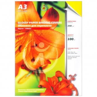 Обложки картон глянец А3, 250г/м2, желтые упак 100шт